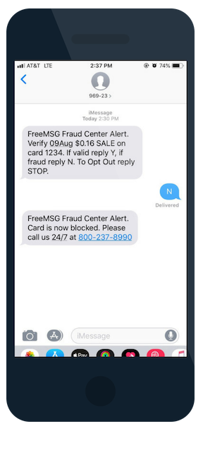 Falcon Fraud Monitoring Text Message